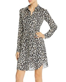 Theory - Silk Leopard Shirt Dress
