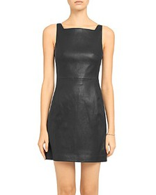 Theory - Square-Neck Leather Dress
