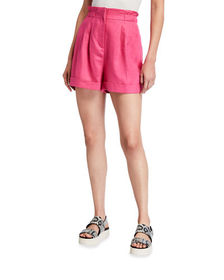Neiman Marcus Paperbag Pleated Linen Shorts