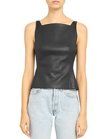 Theory - Leather Square-Neck Top
