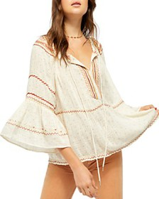Free People - Talia Embroidered Bell-Sleeve Top