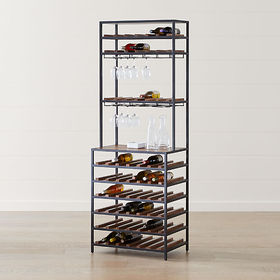 Crate Barrel Knox Black Tall Open Wine Tower
