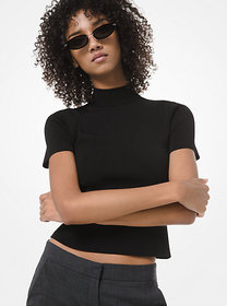 Michael Kors Ribbed-Knit Cropped Mock-Neck Top
