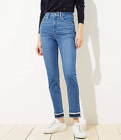 Petite Double Frayed Skinny Jeans