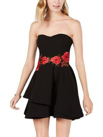 B. Darlin Womens Juniors Fit & Flare Embroidered C