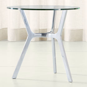 Crate Barrel Elke Glass End Table with Polished Al