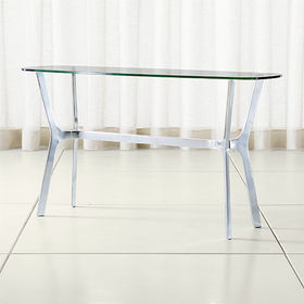 Crate Barrel Elke Glass Console Table with Polishe