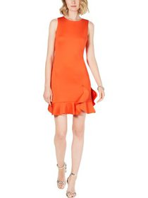 Vince Camuto Womens Petites Ruffled Party Shift Dr