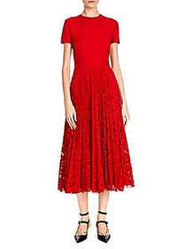 Short Sleeve Crepe & Lace Pleat Dress RED