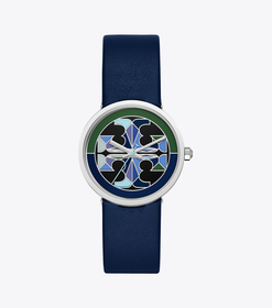 Tory Burch reva watch, navy leather/multi-color, 3
