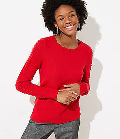 Petite Scalloped Cable Sleeve Sweater