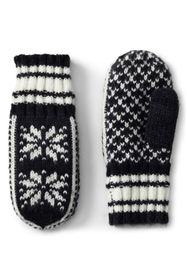 Lands End Women's Knit Fairisle Winter Mittens