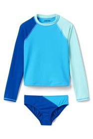 Lands End Girls Colorblock Rash Guard Set