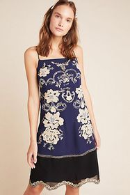 Anthropologie Allaire Embroidered Slip Dress