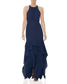 HALSTON - Georgette Flounced Tier Gown