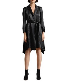 HALSTON - Crushed Satin Trench Coat Dress