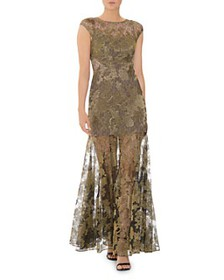HALSTON - Metallic Embroidered Lace Evening Gown
