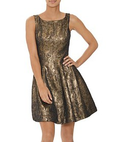 HALSTON - Metallic Jacquard Fit-and-Flare Cocktail