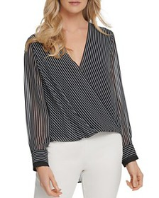 DKNY - Striped Faux-Wrap Top