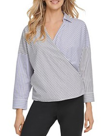 DKNY - Cotton Striped Faux-Wrap Top