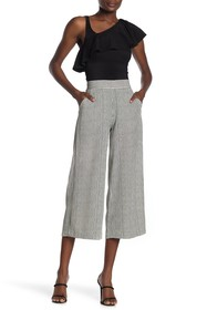 Max Studio High Waisted Patterned Crepe Culotte Pa
