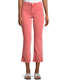 J Brand Selena Mid-Rise Crop Boot Jeans with Lace