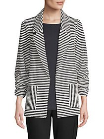 JONES NEW YORK Striped Open Blazer BLACK WHITE