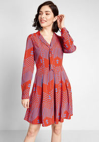 ModCloth Pleasant Confidence Tie-Neck Dress Red Ge