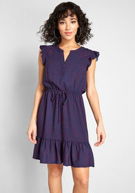 ModCloth As You Love It Ruffle Dress Navy/Red Hear