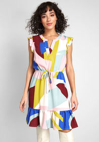 ModCloth As You Love It Ruffle Dress Multicolor Ge