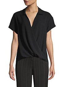 JONES NEW YORK Crossover-Front Short-Sleeve Top BL