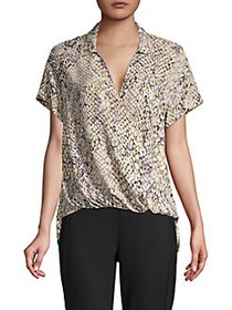 JONES NEW YORK Snakeskin-Print Faux Wrap Top ANIMA