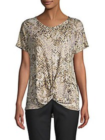 JONES NEW YORK Short-Sleeve Snakeskin-Print Top AN
