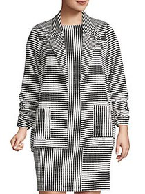 JONES NEW YORK Plus Textured Striped Blazer BLACK