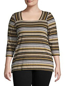 JONES NEW YORK Plus Striped Pullover Top PIXEL STR