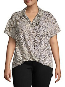 JONES NEW YORK Plus Wild-Print Top ANIMAL LACE