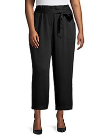 JONES NEW YORK Plus Paperbag Wide-Leg Pants BLACK