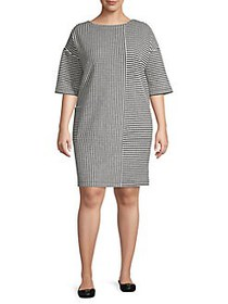 JONES NEW YORK Plus Mixed Striped Shift Dress BLAC