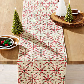 Crate Barrel Snowflake Burst Embroidered Table Run