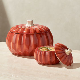 Crate Barrel Large Handpainted Pumpkin Serving Bow