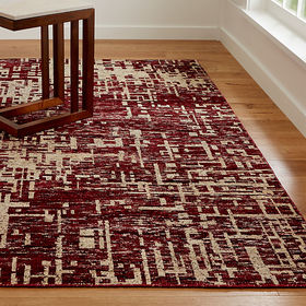 Crate Barrel Celosia Berry Hand Knotted Rug 5'x8'
