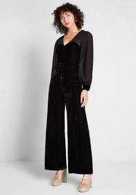 Collectif Ready for My Close-Up Velvet Jumpsuit Bl