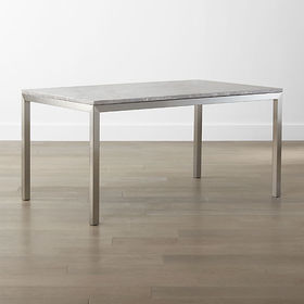 Crate Barrel Parsons Grey Marble Top/ Stainless St