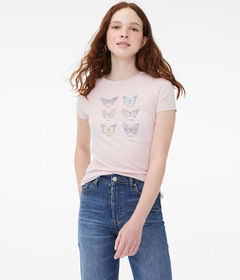 Aeropostale Butterfly Languages Graphic Tee