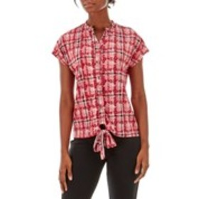 Shining Button Down Printed Top with Tie Front