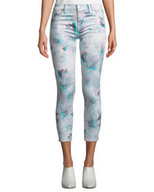 J Brand 835 Mid-Rise Cropped 3D-Print Skinny Jeans