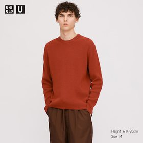 Men U Ribbed Crew Neck Long-Sleeve Sweater, Dark O