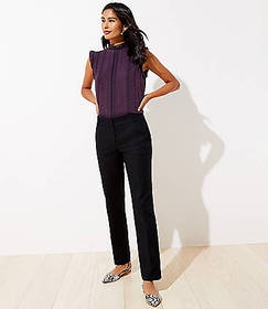 Petite Straight Leg Pants in Doubleweave