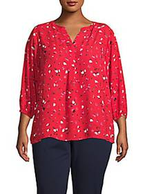 Philosophy Floral Three-Quarter Tunic RED