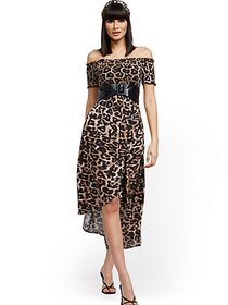 Leopard-Print Off-The-Shoulder Hi-Lo Wrap Maxi Dre